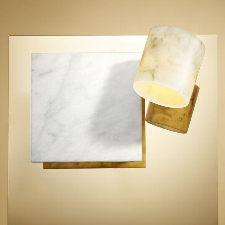 "Vena Marble Pillar Candle, 6x6"""