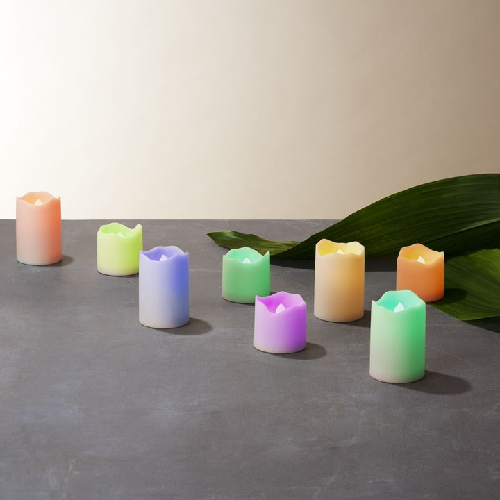 Ivory Color-Changing Assorted Resin Flameless Votive Candles, Set of 8