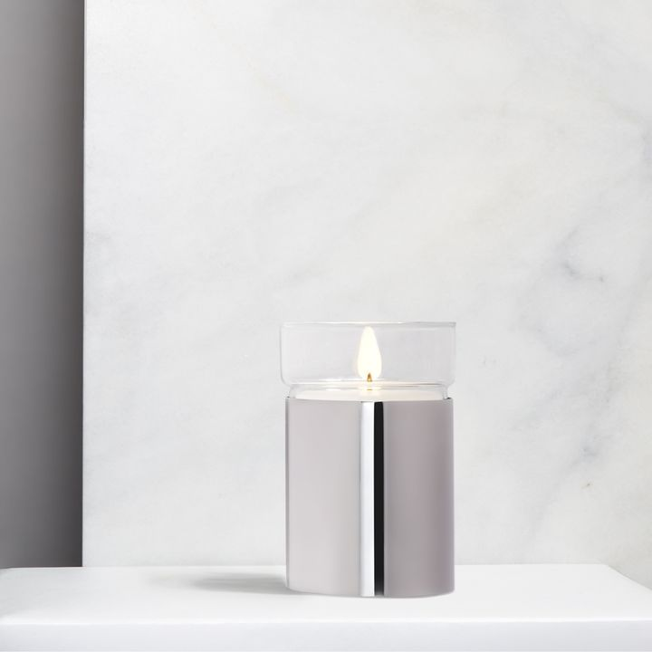 Surreal Flame Candle, Silver