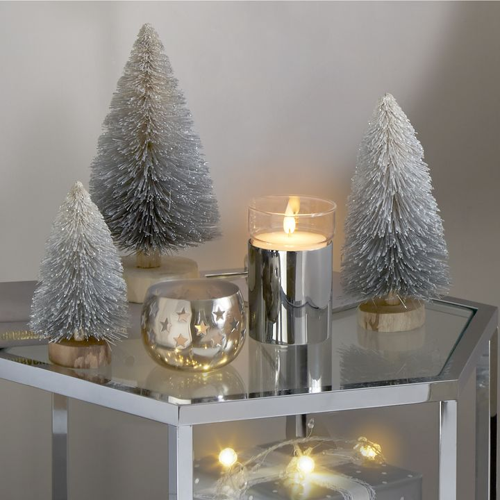 Bottle Brush Silver Frosted Faux Trees, Set of 3