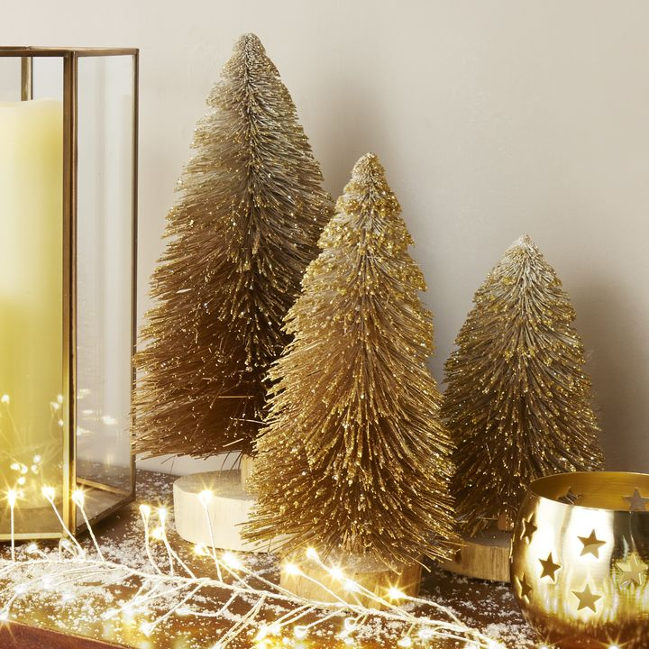 Bottle Brush Gold Ombre Faux Trees, Set of 3
