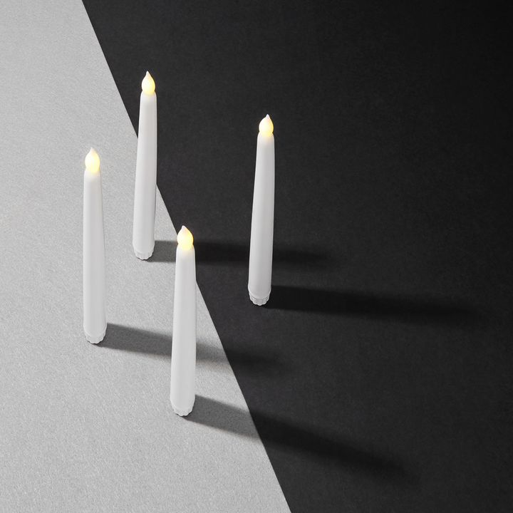 "Classic White 10"" Wax Flameless Taper Candles, Set of 4"