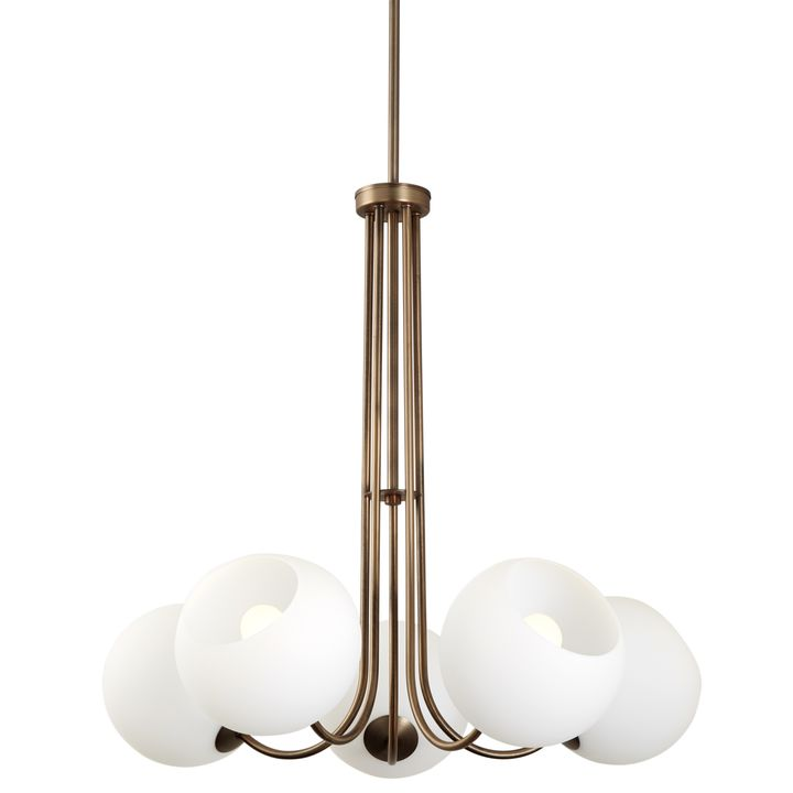 Celeste 5-Light Chandelier with White Globes, Bronze