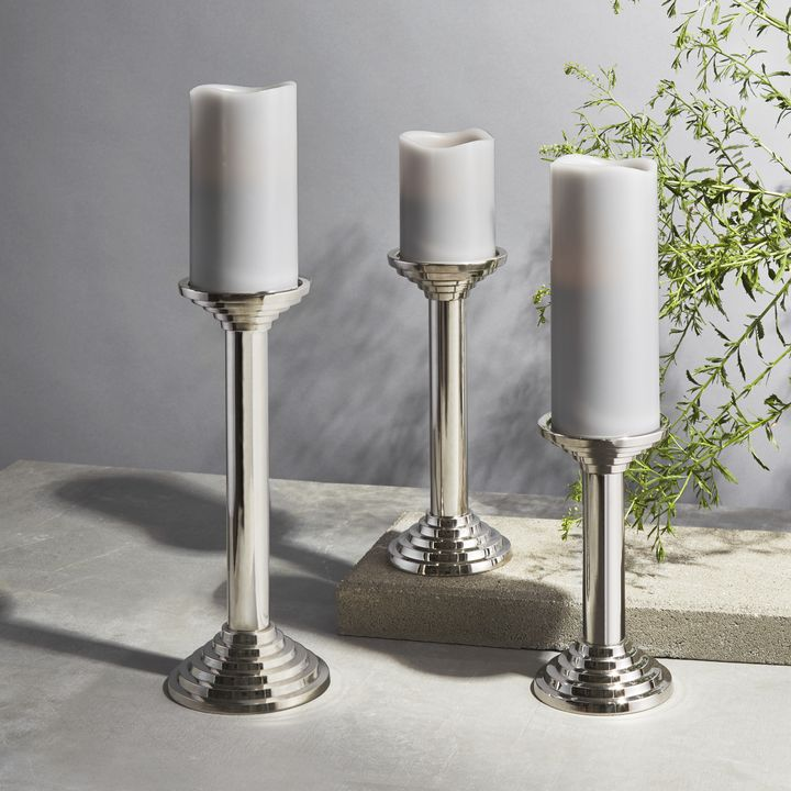 Delano Silver Pillar Candle Holder, Medium