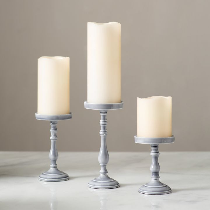 Magnolia Gray Pillar Candle Holder, Medium