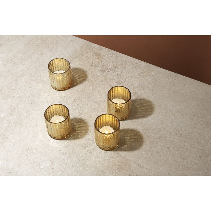 Gold Mercury Glass Tea Light Candle Holder, Set of 4