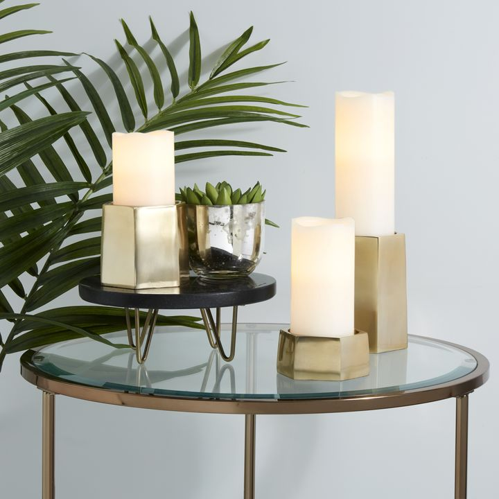 Pax Brass Pillar Candle Holder, Medium