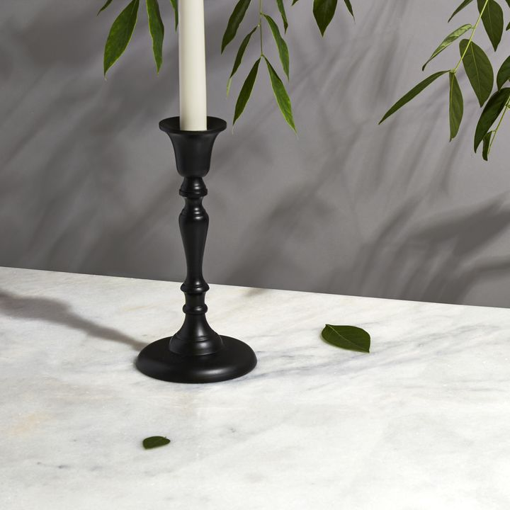 Glaston Taper Candle Holder, Matte Black