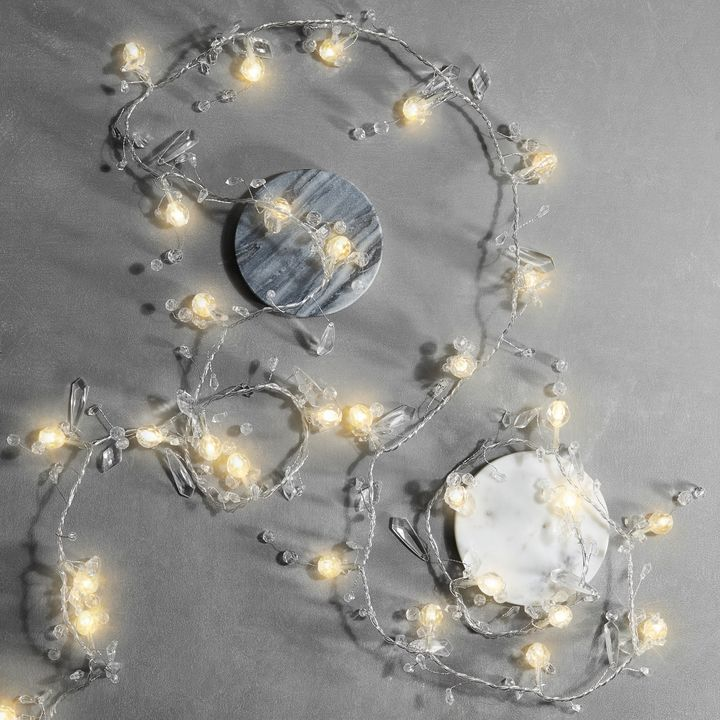Crystal Beaded Garland String Lights, 7.5 ft.