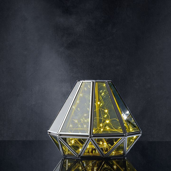 Diamond Terrarium Lantern with Silver Fairy Lights