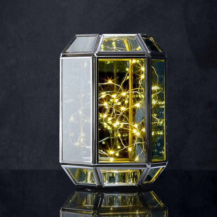 Rectangular Terrarium Lantern with Silver Fairy Lights