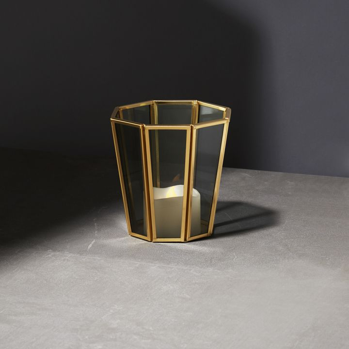 Neva Brass and Tapered Smoke Glass Votive Candle Holder