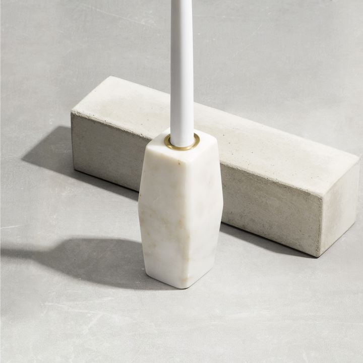 Pollux White Marble Taper Candle Holder