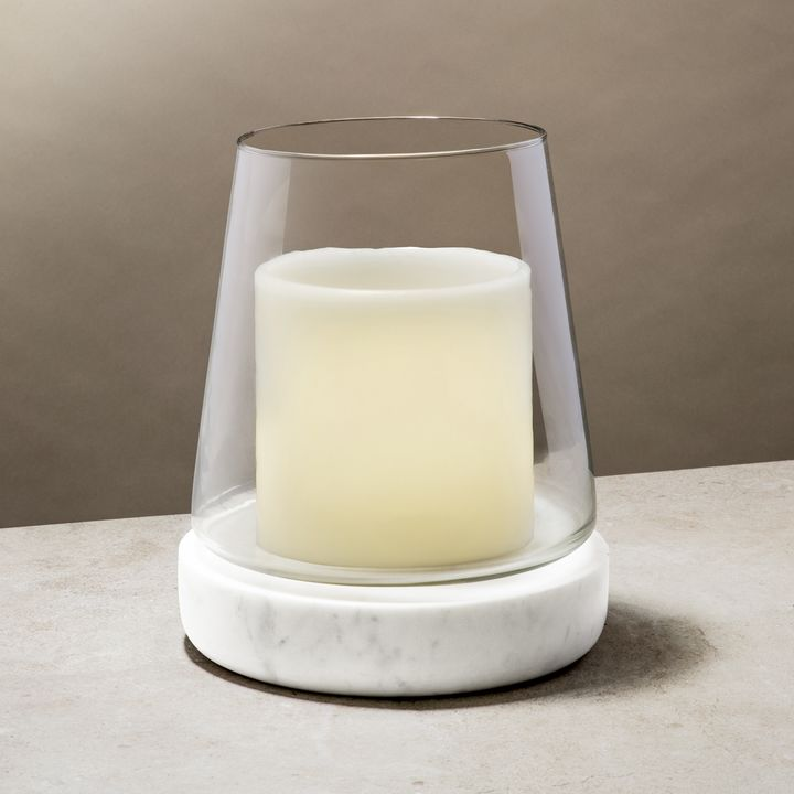 Bellona Tapered Glass and Marble Hurricane, Large