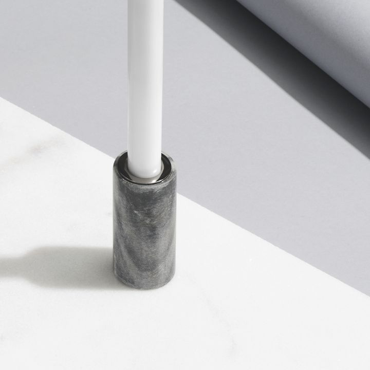 "Moneta Gray Marble Taper Candle Holder, 3.5"""