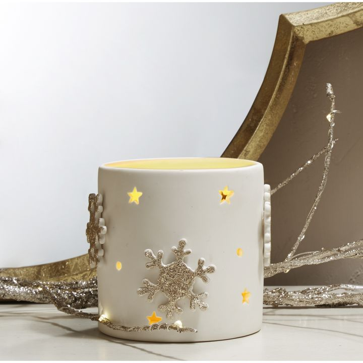 Winter White Porcelain Candle Holder, 3.5