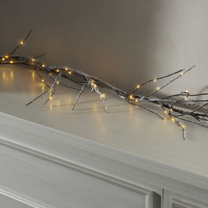 Frosted Branch LED-Wrapped Garland, 5ft