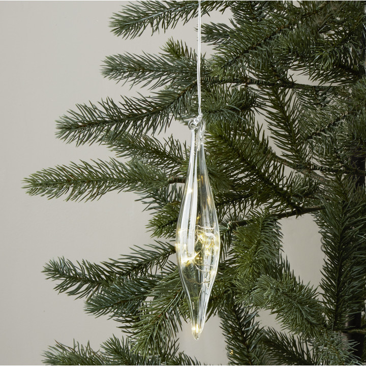 Pointed Glass Finial with Silver Fairy Lights