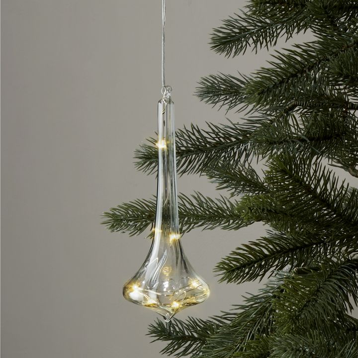 Elongated Glass Finial with Silver Fairy Lights