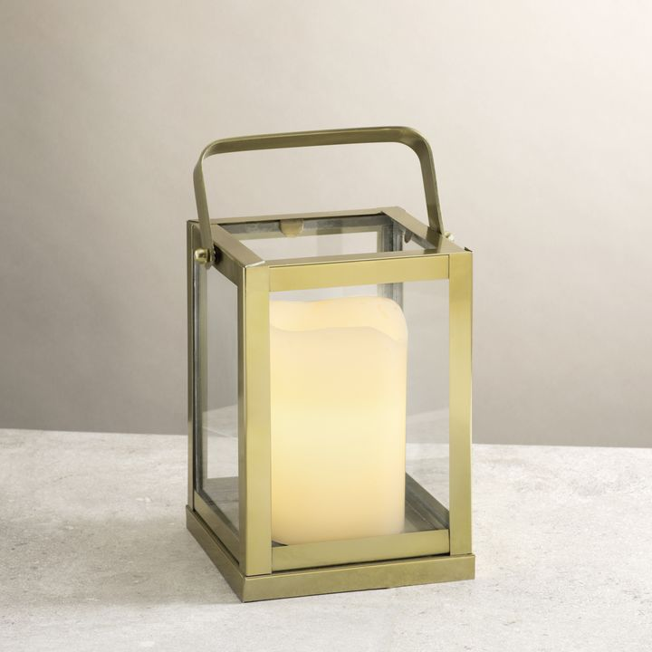Miro Gold and Glass Lantern, Small