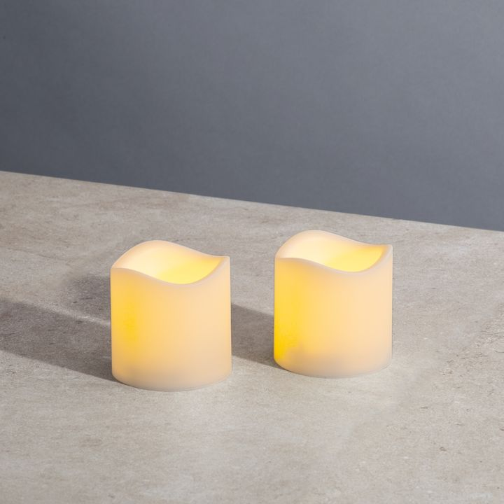 "Ivory 3x3"" Melted-Edge Resin Pillar Candles, Set of 2"