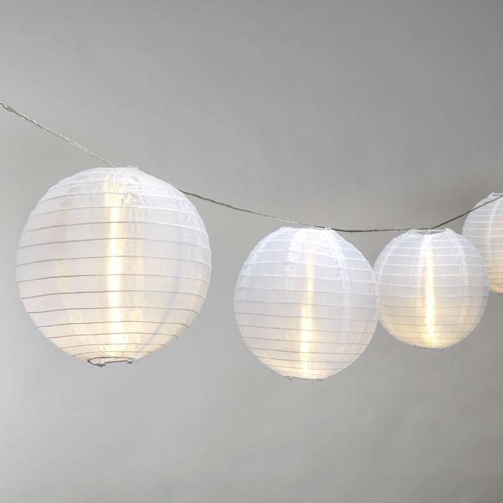 "Ara White 8"" Lantern String Lights, Strand of 10"