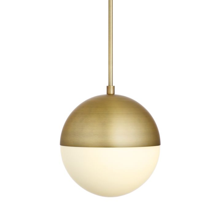 "Powell LED 10"" Aged Brass Globe Pendant"