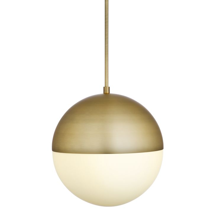"Powell LED 14"" Aged Brass Globe Pendant"