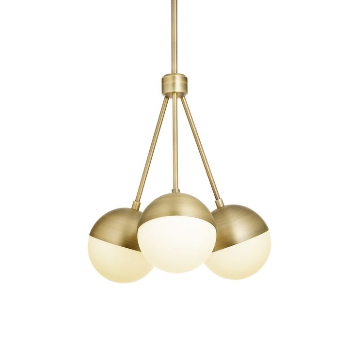 Powell LED 3-Light Chandelier with White Globes, Aged Brass