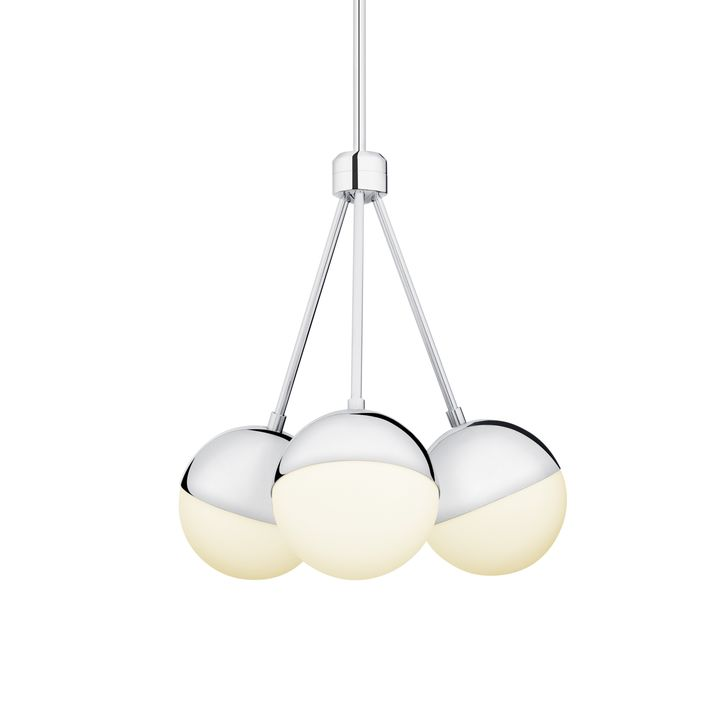 Powell LED 3-Light Chandelier with White Globes, Chrome