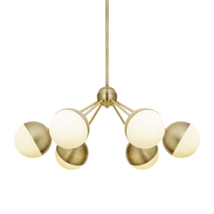 Powell LED 6 Light Chandelier With White Globes, Aged Brass