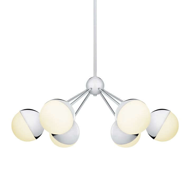 Powell LED 6-Light Chandelier with White Globes, Chrome