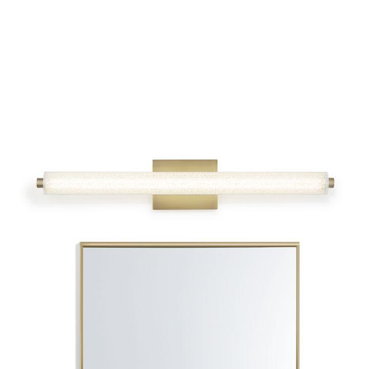 "Ronan 32"" Textured Glass LED Vanity Light, Aged Brass"