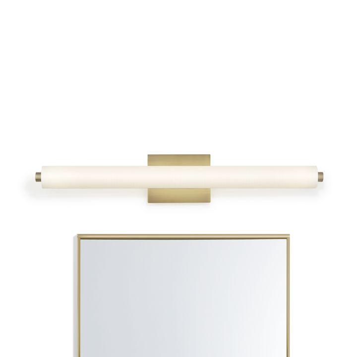 """Ronan 32"""" Linen Glass LED Vanity Light, Aged Brass"""