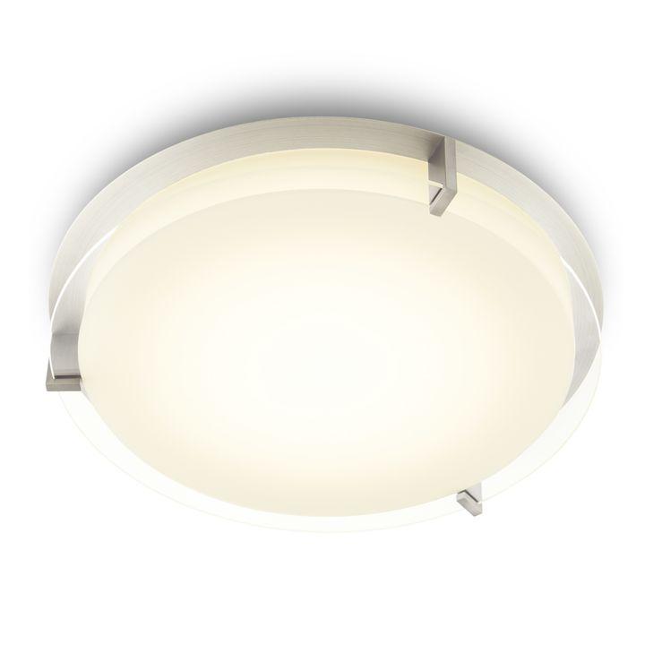 "Atlas 16"" Round LED Flush Mount, Satin Nickel"
