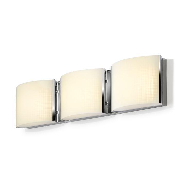 Sloane 3-Light Linen Glass LED Vanity, Chrome