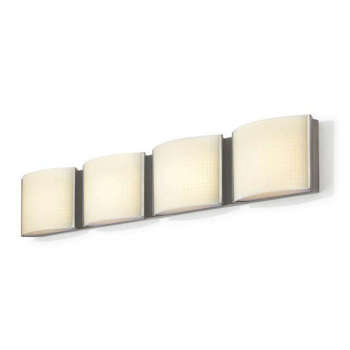 Sloane 4-Light Linen Glass LED Vanity, Satin Nickel