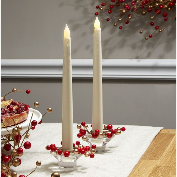 holiday berry taper candle rings set of 4 - Decorative Christmas Candle Rings