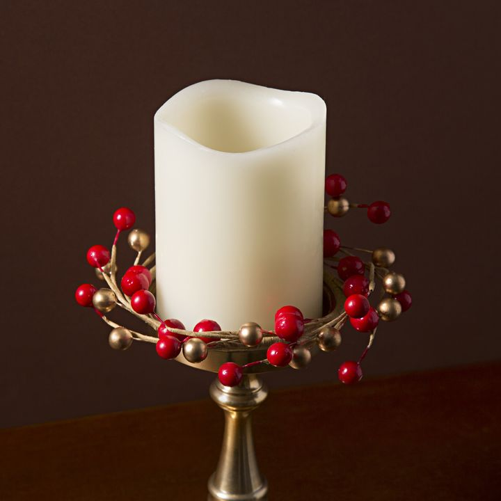 Holiday Berry Pillar Candle Rings, Set of 3