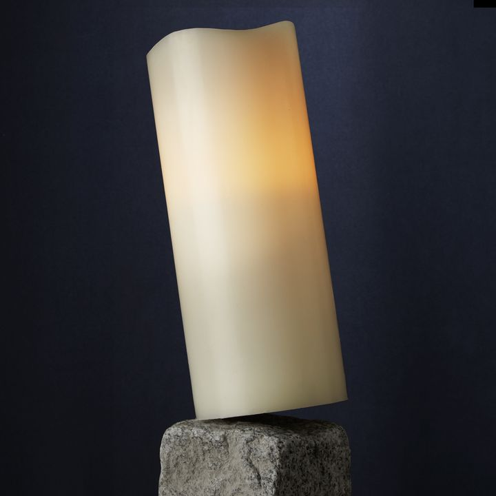 "Signature White 4x10"" Melted-Edge Wax Pillar Candle"