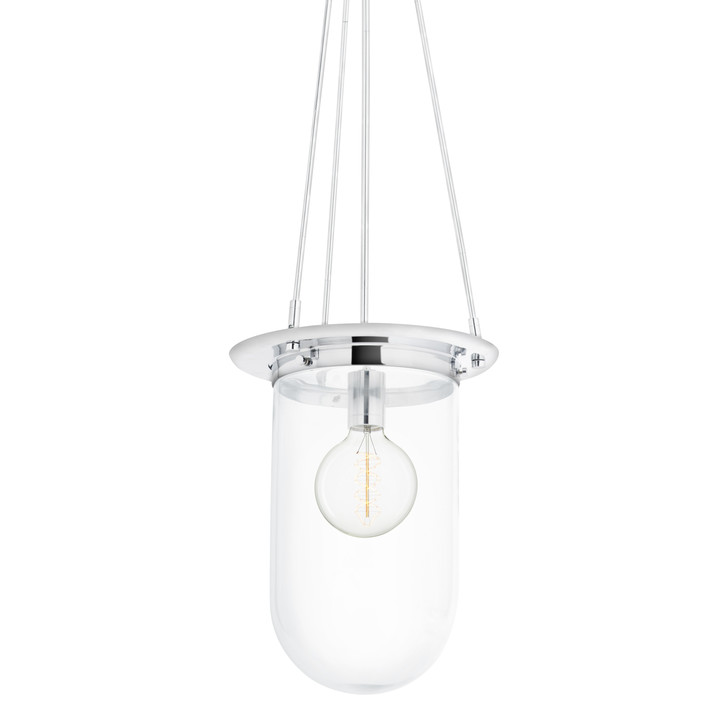 Regent Pendant with Clear Pill Shade, Chrome