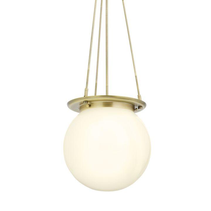Regent Aged Brass White Globe Pendant