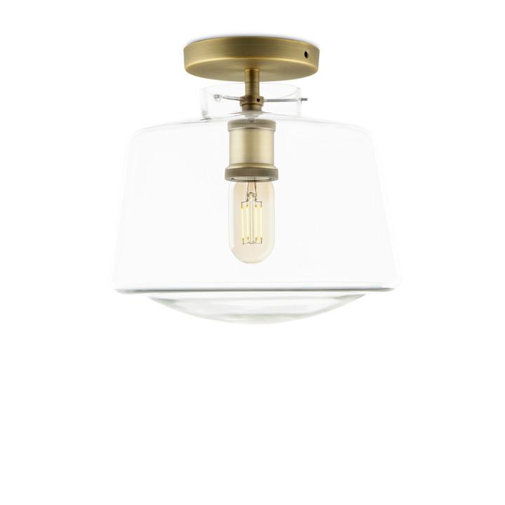 Alton flush mount with schoolhouse glass aged brass