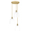 3-Light Round Canopy with Alton Pendants, Chic Dome Glass and Rod Sets, Aged Brass