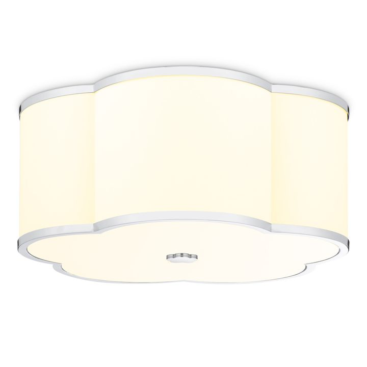 "Isla 18"" LED Fabric Shade Scalloped Flush Mount, Polished Nickel"