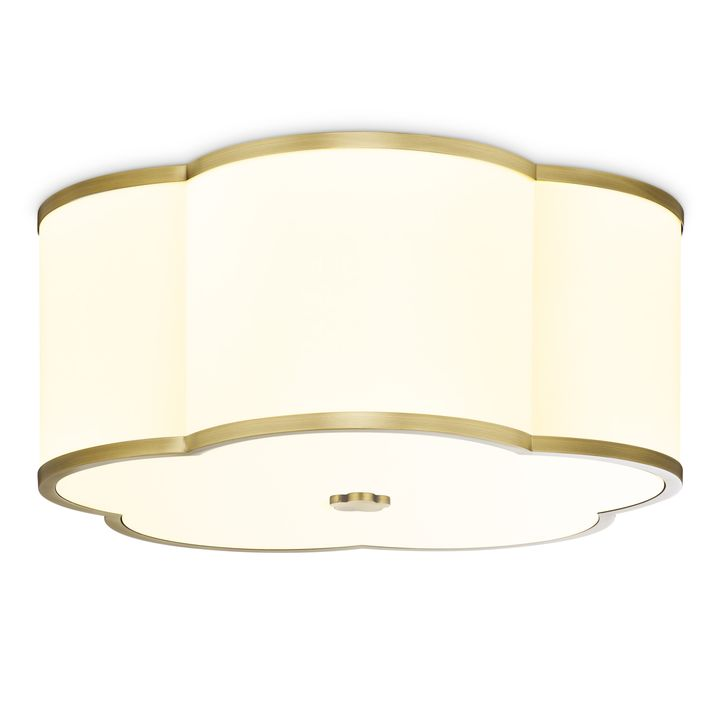 "Isla 18"" LED Fabric Shade Scalloped Flush Mount, Aged Brass"