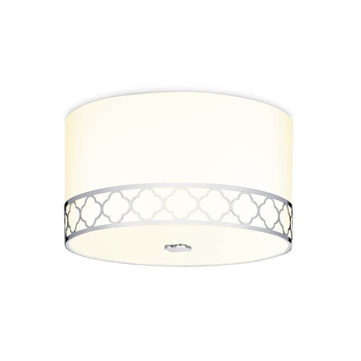 "Anja 14"" Fabric Drum Shade Flush Mount, Polished Nickel"