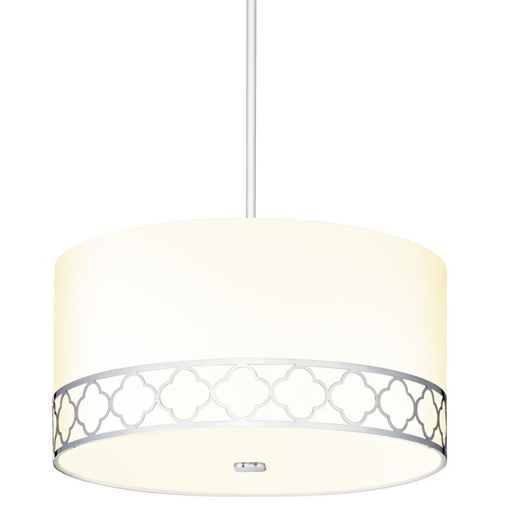 "Anja 18"" Fabric Drum Shade Pendant, Polished Nickel"