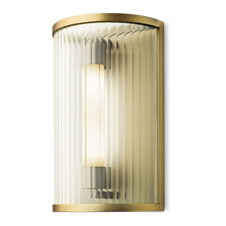 Harper LED Cylinder Glass Rod Wall Sconce, Aged Brass