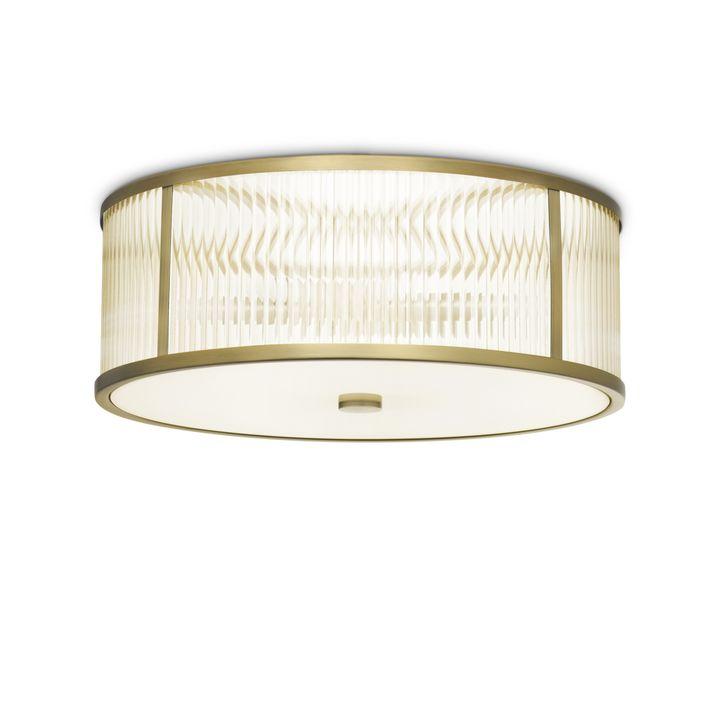 "Harper 18"" LED Round Glass Rod Flush Mount, Aged Brass"
